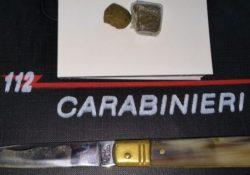 Agnone. I Carabinieri sorprendono un giovane della provincia di Chieti con Hashish ed un coltello a serramanico.