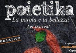 """Capracotta. POIETIKA Art Festival """"La parola e la bellezza"""", Tour estivo 2018: sabato 4 agosto in città.2018"""