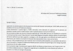 PIEDIMONTE MATESE. Nomina del Garante per i diritti delle persone disabili, il garante regionale Giuseppe Bove scrive al sindaco Di Lorenzo complimentandosi per la scelta.