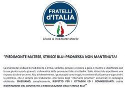 """PIEDIMONTE MATESE. """"Strisce blu, promessa non mantenuta"""": l'affondo del circolo Fratelli d'Italia Alto Casertano."""