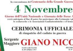 RUVIANO. Centenario della Grande Guerra, tornano in città le spoglie mortali del Sergente Maggiore Nicola Giano.