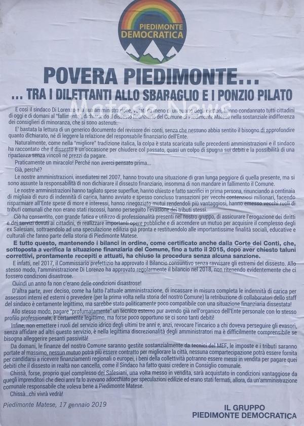 Povera Piedimonte… tra i dilettanti allo sbaraglio e i Ponzio Pilato: la nota di Piedimonte Democratica