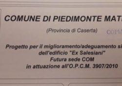 PIEDIMONTE MATESE. Centro Operativo della Protezione Civile, edificio ex Salesiani: iniziano i lavori.