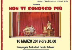"""ALIFE. """"Non ti conosco più"""": lo spettacolo teatrale domenica 10 marzo 2019 all'Auditorium IPIA."""