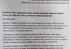 PIEDIMONTE MATESE. Stato di degrado stradina laterale Acquedotto Campano Sorgente Torano per Valle dell'Inferno: ecco la sottoscrizione dei residenti.