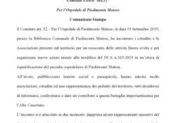 PIEDIMONTE MATESE. Comitato art. 32 per lOspedale di Piedimonte Matese: adunanza plenaria ad ottobre con tutti i rappresentanti comunali del Distretto.