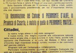 PIEDIMONTE MATESE. Da Piedimonte d'Alife a Piedimonte Matese: 50 anni fa il passaggio…