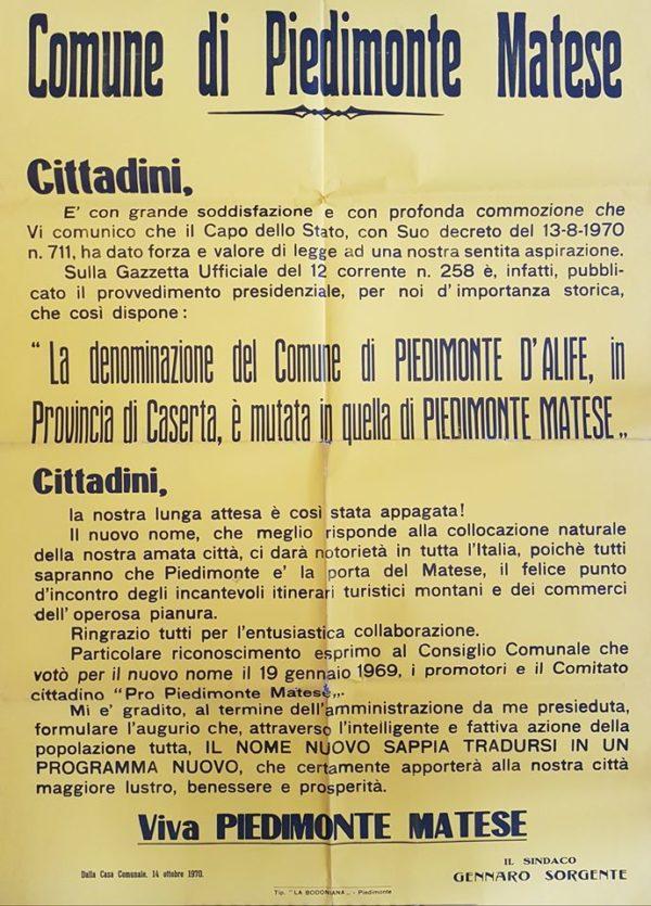 Da Piedimonte d'Alife a Piedimonte Matese: 50 anni fa il passaggio…