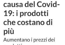PIEDIMONTE MATESE. Prezzi in rialzo a causa del covid-19: i prodotti che costano di più. La nota dell'amministrazione Di Lorenzo.