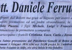 ALIFE. I funerali di Daniele Ferrucci: quest'oggi alle ore 16:00 presso la Cattedrale Santa Maria Assunta.