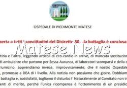 PIEDIMONTE MATESE. Comitato Diritto alla Salute: Lettera aperta a tutti i concittadini del Distretto 30… la battaglia è conclusa!!!…?