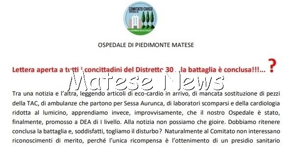 Lettera aperta a tutti i concittadini del Distretto 30… la battaglia è conclusa!!!…?