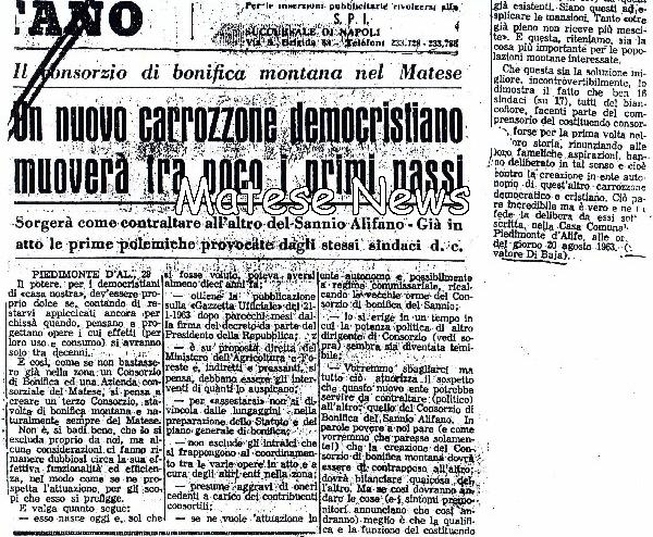 """Correva l'anno… 1963 – Consorzio di Bonifica, """"Un nuovo carrozzone democristiano muoverà tra poco…"""