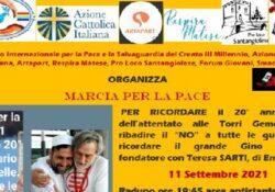 SANT'ANGELO D'ALIFE.  11 settembre Marcia per la Pace per ricordare l'attentato alle torri gemelle e Gino Strada.