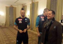 Telese Terme. Arriva il Napoli Calcio ed e' entusiasmo alle stelle, tifosi impazzitti affollato il Grand Hotel: stasera la super sfida col Benevento.