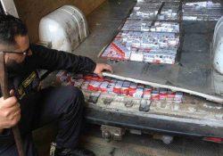 Caserta / Mondragone. Intercettato furgone che trasportava, occultati in un doppio fondo costruito sul pianale di carico, 133 kg. di sigarette di contrabbando, oltre 6.600 pacchetti, provenienti dall'Ucraina.