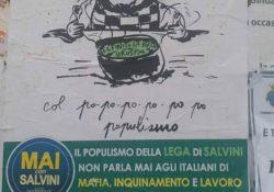 """SPARANISE / CALVI RISORTA / PIGNATARO MAGGIORE. Continuano le azioni anti Salvini: """"Via la Lega Nord dall'Agro Caleno, viva la pappa pappa""""."""