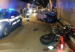 Pescolanciano. Grave incidente stradale in galleria: coinvolte una moto ed una utilitaria.
