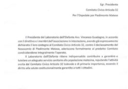 """ALIFE / PIEDIMONTE MATESE. """"L'Associazione """"Il Laboratorio dell'Elefante"""" aderisce formalmente al Comitato Civico Articolo 32 per l'Ospedale di Piedimonte Matese."""