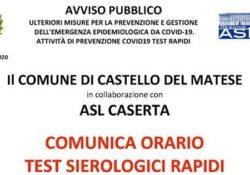 CASTELLO MATESE / PRATA SANNITA. Test sierologici organizzati dall'Asl ma solo per alcuni Comuni, monta la protesta: De Rosa chiede parità di trattamento per tutti i cittadini del Matese.