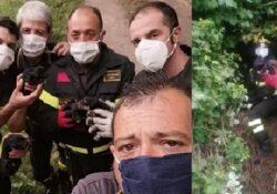 Dugenta. 4 cuccioli di cane cadono in un dirupo: salvati dai Vigli del Fuoco.